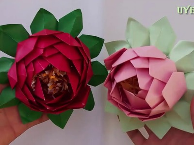 Lotus Paper: A simple guide step by step   papercraft   Uyen Nhi
