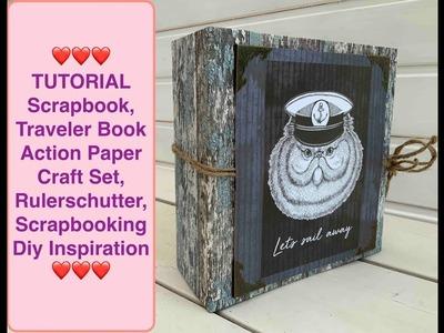 TUTORIAL Scrapbook,Traveler Book Action Paper Craft Set, Rulerschutter, Scrapbooking Diy Inspiration
