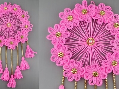 Woolen Craft Idea.Best Out of Waste Woolen Door Hanging.How To Make Wall Hanging for Room Decor