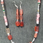 """19"""" peach to Pink necklace, earrings 150758"""