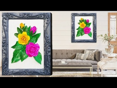 Clay Art wall hanging. DIY Air Dry Clay Flowers. How To Make Clay Flowers