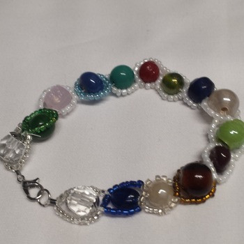 colored beads wrapped in glass beads.  202444