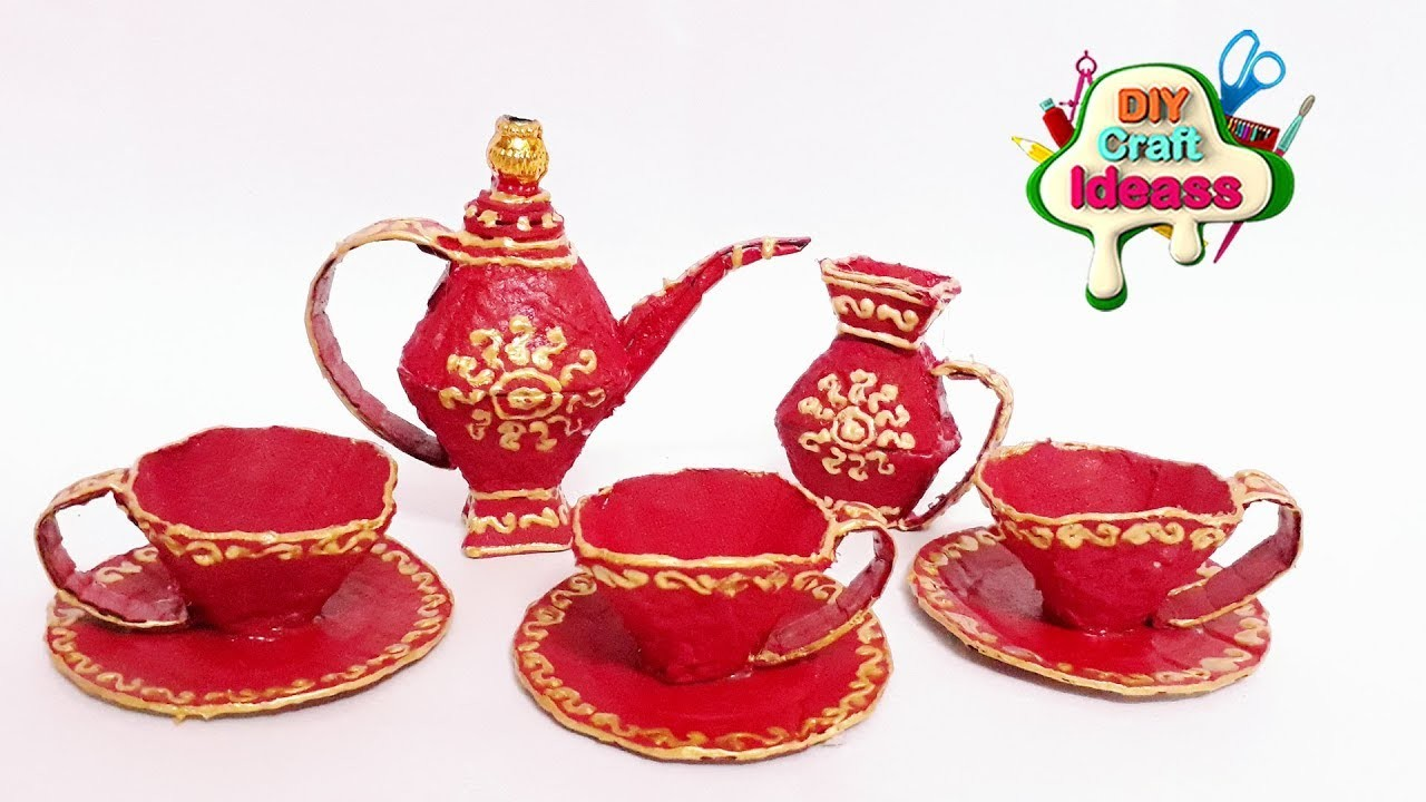 Creative Ideas With Egg Carton | Egg carton cup saucer and kettle set | Arush diy craft ideas