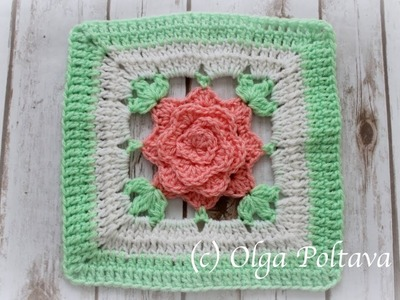 Crochet Rose Granny Square for Afghan, Make Rose Crochet Blanket, Crochet Video Tutorial