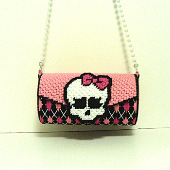 Cute Pink & Black Monster High Round Purse