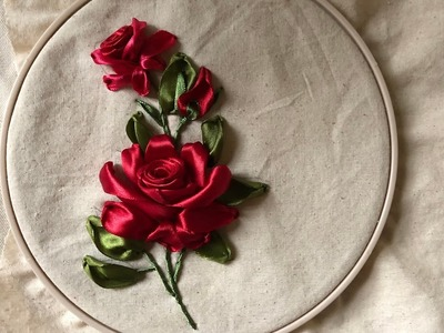 D.I.Y Ribbon Embroidery Red Rosa