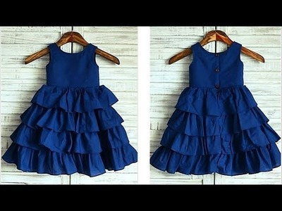 Diy Designer Ruffled Baby Frock For 3 To 4 Year  Cutting & Stitching Full Tutorial