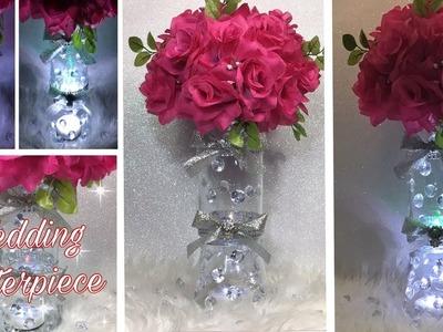 DIY Lit Wedding Centerpiece Vases. How To Make An Elegant Floral Wedding Centerpiece