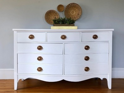 DIY White Dresser Makeover with Chalk Paint. Wood Stain