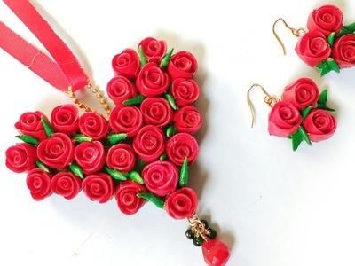 Floral Pendant | Red Rose Pendant Making | Valentine's Day Gift Idea For Her | DIY | Punekar Sneha