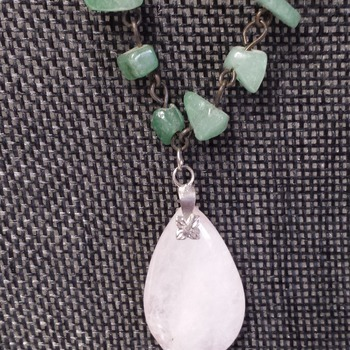 Genuine Jade and Rose Quartz necklace 154825