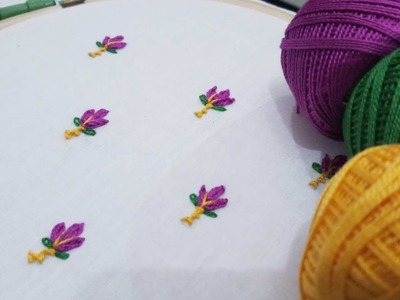 Hand embroidery of an easy allover design for beginners