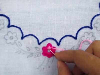 Hand Embroidery, Simple Neck Line Embroidery Design, Neck Embroidery Tutorial