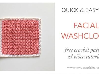 How to Crochet: FACIAL WASHCLOTH    DIY Tutorial + Free Pattern (TEA ROSE SPA SET 4 of 4)