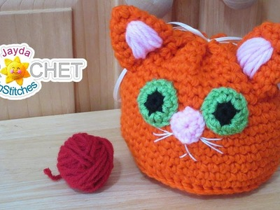 Kitty Cat Drawstring Sack - Gift. Loot Bag Crochet Tutorial