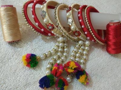 Latest silk thread latkan bangle   silk thread bangle at home