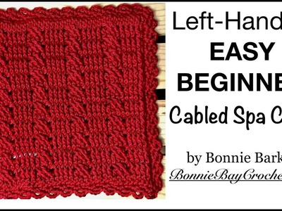Left-Handed EASY BEGINNER'S Cabled Spa Cloth, by Bonnie Barker