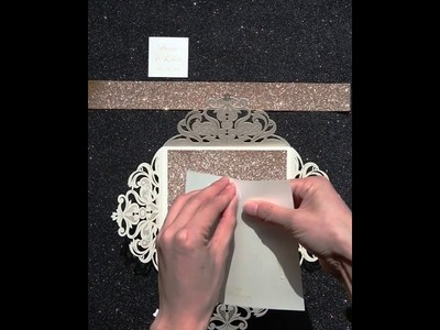 Luxury rose gold laser cut wedding invites with glittery bottom card and belly band EWTS038