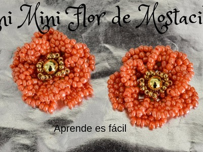 Mini Flor de Mostacillas.earring flower  #handmadeearring #earring  #flower