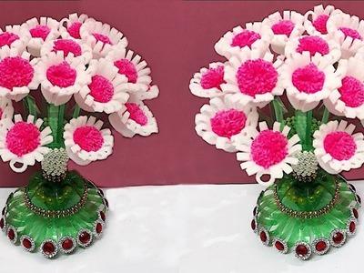 New Guldasta from Plastic Bottle with Foam flower | Best out of waste-Foam flower Guldasta