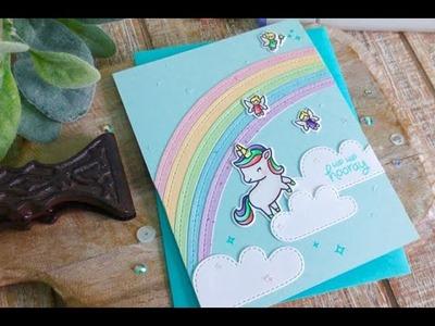 Unicorn Sparkle Birthday | Copic Coloring | Lawn Fawn