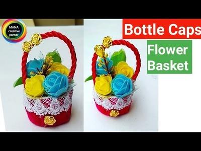Beautiful Mini Flower Basket from plastic bottle caps#plastic bottle caps craft idea#best from waste