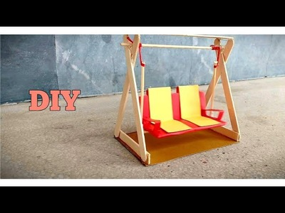 Cardboard Art and Craft Ideas | How to Make Cardboard Miniature Swing | Cardboard Jhula
