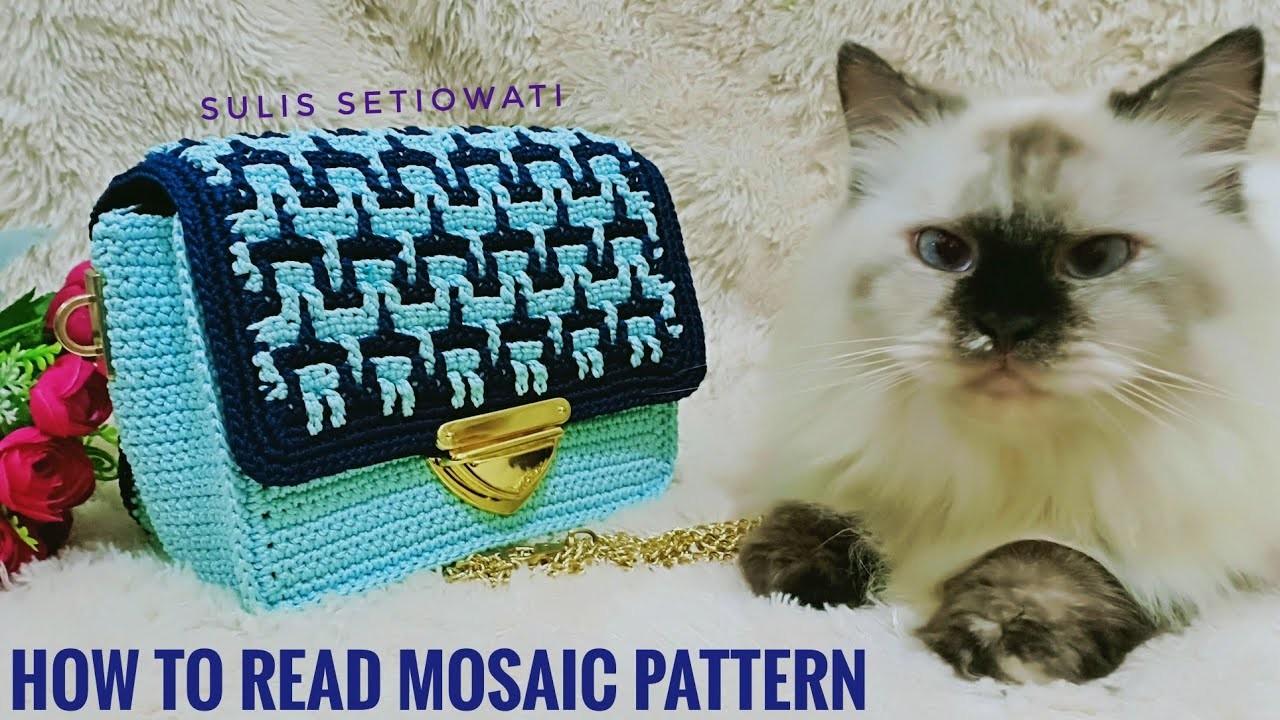 Crochet || cara membaca pola mozaik || how to read mosaic pattern || English sub