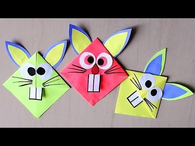 DIY -  Easy Paper Bookmark || Easter Bunny Corner Bookmark Paper Craft For Kids