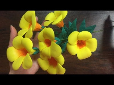 DIY: How to make Allamanda cathartica flower with foam sheets.  Cómo hacer flor de en foami