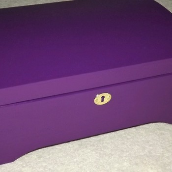 FREE POST - LOCKABLE Wooden PURPLE Chest with inner storage tray. Handmade woodwork with lock and key.