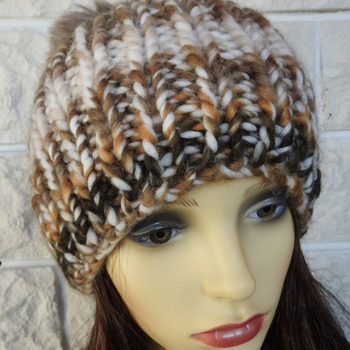 Hand Knitted Women's Brown And Cream Random Winter Hat With A Brown Pom Pom - Free Shipping