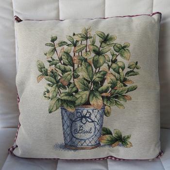 Handmade Basil Tapestry Cushion Cover - Free Shipping