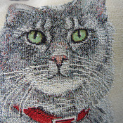 Handmade Cat With Red Collar Tapestry Cushion Cover - Free Shipping