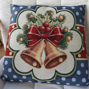 Handmade Christmas Bells Tapestry Cushion Cover - Free Shipping