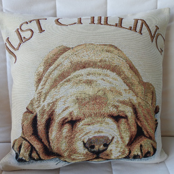 Handmade Just Chilling Dog Tapestry Cushion Cover - Free Shipping