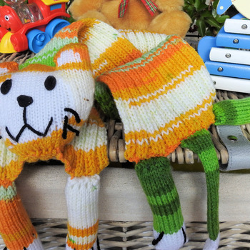 Handmade Knitted Multicolored Child's Cat Scarf - Free Shipping