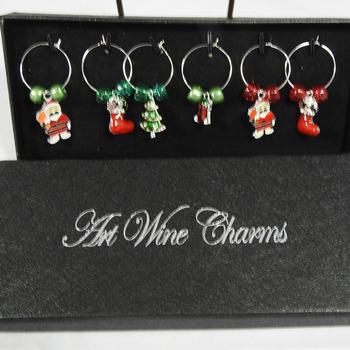Handmade Silver Coloured Christmas Wine Glass Charms - FREE SHIPPING