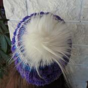Handmade Women's Purple Multicoloured Pom Pom Hat - Free Shipping