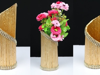 How to make a flower vase with newspaper for home decoration | best out of waste