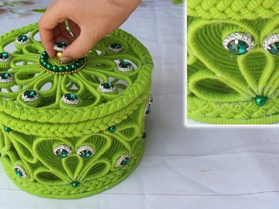 How to make a storage box - Jewellery box with woolen and newspaper