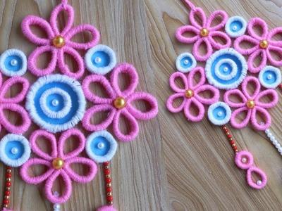How To Make Beautiful Door Hanging Toran.Waste Material Craft Ideas For Home Decor.Woolen Craft Idea