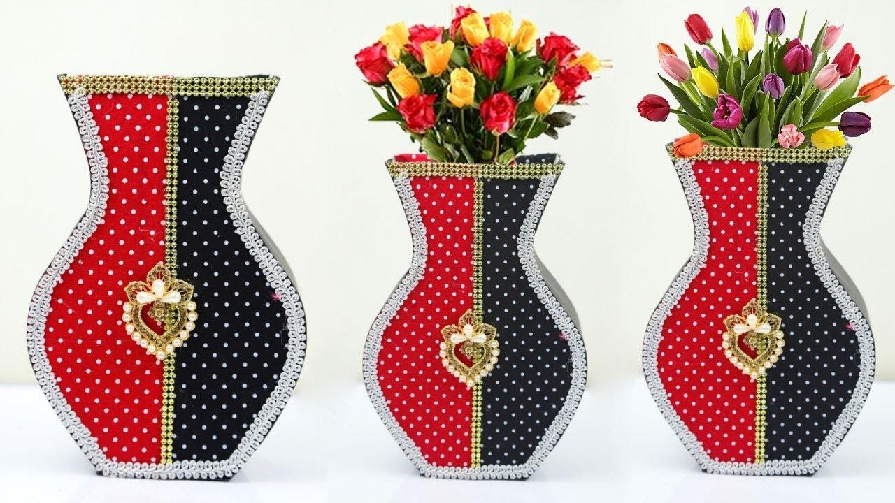 How to Make Cardboard Flower Vase Craft at Home | DIY Crafts Home Decor Idea