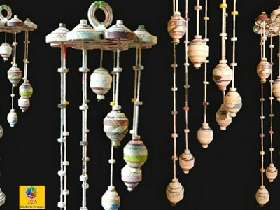 How to make wind chime out of Newspaper | DIY Wind Chime Wall Hanging | Newspaper Craft