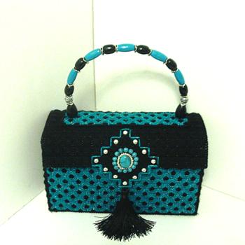 Jeweled Black & Turquoise Handbag