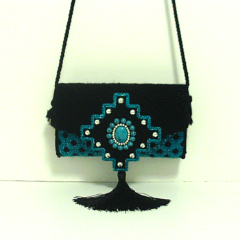 Jeweled Turquoise & Black Clutch