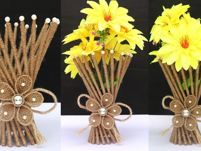 Jute flower vase making at home || jute art and craft || DIY Project !art&craft