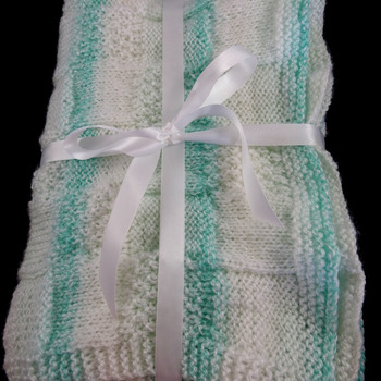 Knitted Green And White Patterned Baby Blanket - Free Shipping