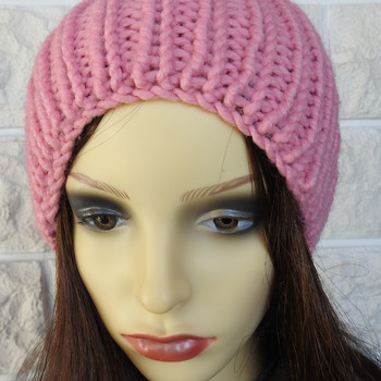 Knitted Women's Ribbed Hat With White Pom Pom - Free Shipping