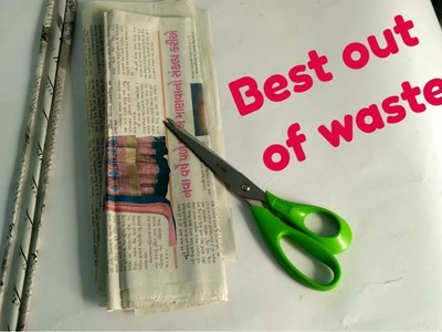 Newspaper flower vase. Best out of waste. paper craft ideas